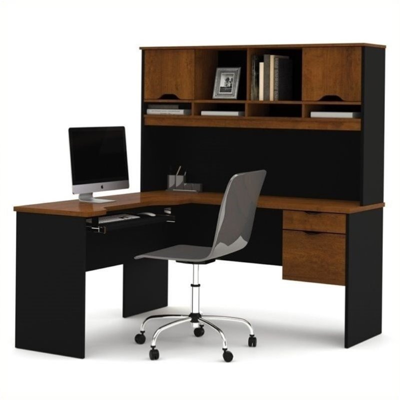 Bowery Hill L-Shaped Computer Workstation with Hutch in Tuscany Brown