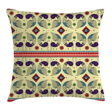 Tribal Decor Throw Pillow Cushion Cover, Indian Creative Peacock Pattern with Flowers Abstract Native America Art, Decorative Square Accent Pillow Case, 20 X 20 Inches, Cream and Purple, by - Tribal Flowers