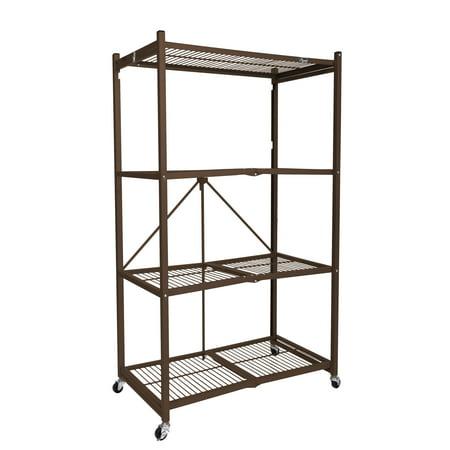 "Origami Wheeled 4-Shelf Folding Steel Wire Shelving, Bronze (21"" x 36"" x 60"")"