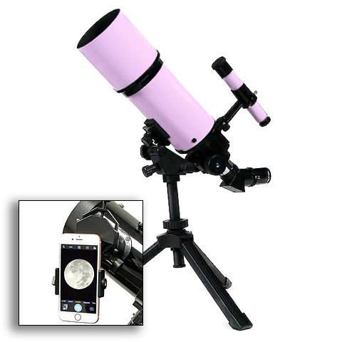 Twinstar 80mm Refractor Telescope, Pink