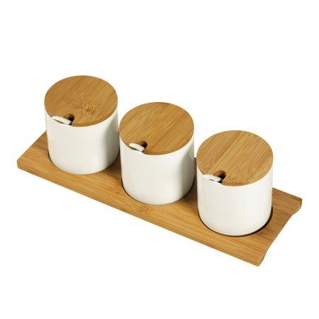 Tabletops Unlimited, Inc 10pc Bamboo & Ceramic Condiment Set - White (Bamboo Tabletop)