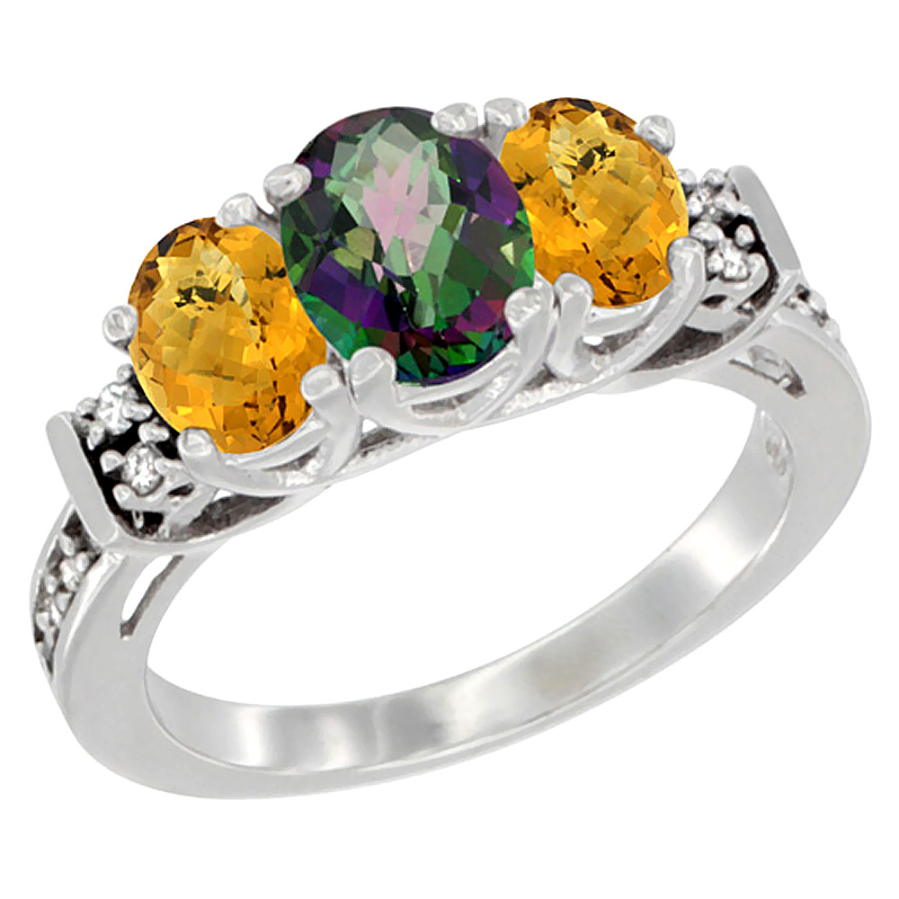 10K White Gold Natural Mystic Topaz & Whisky Quartz Ring 3-Stone Oval Diamond Accent, sizes 5-10 by WorldJewels