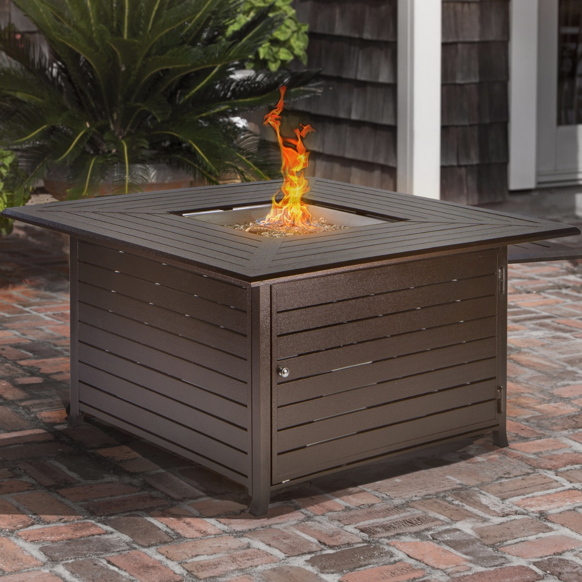 BARTON Outdoor Patio Heater Fire Pit Square Heater LP 42000BTU, with Cover