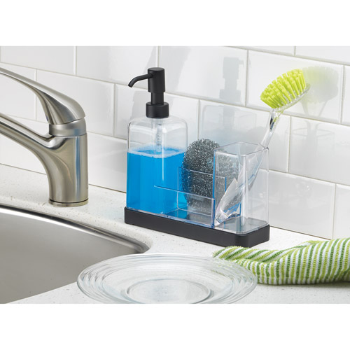 InterDesign Forma Kitchen Soap Dispenser Pump, Sponge, Scrubby And Dish  Brush Caddy Organizer,