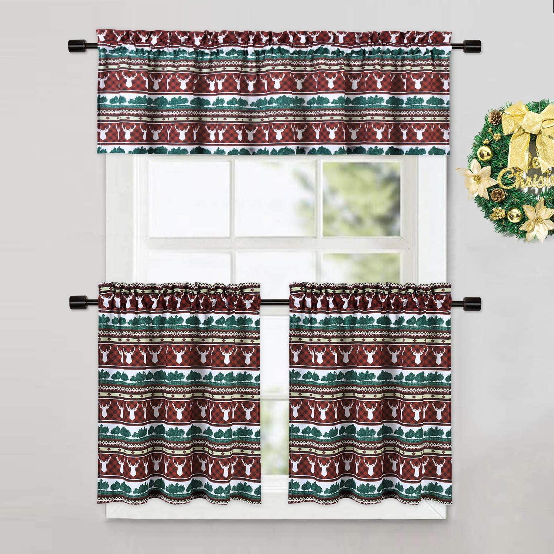 Caromio Cafe Curtains 24 Inch Christmas Reindeer Plaid Printed Farmhouse Decor Tier Curtains For Kitchen Cafe Bathroom Window Curtains Short Spice Brown Walmart Com Walmart Com