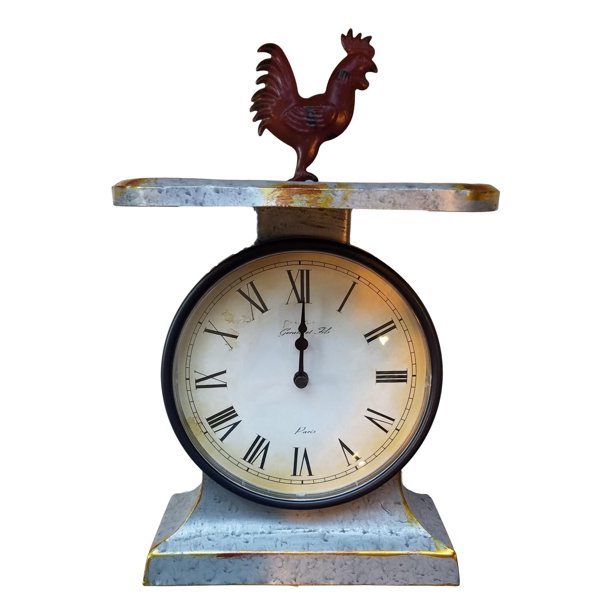 Galvanized Country Farm Table Clock Scale Rooster Theme Walmart Com Walmart Com