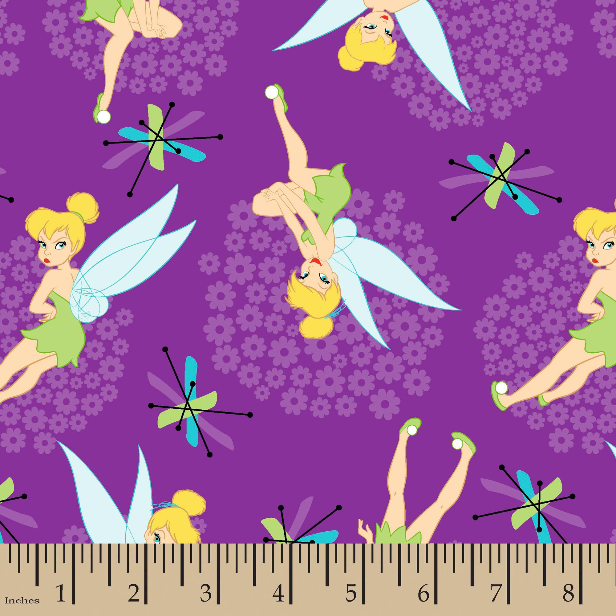 "Disney Tinkerbell Toss, Purple, 100 Percent Cotton, 43/44""W, Fabric by the Yard"
