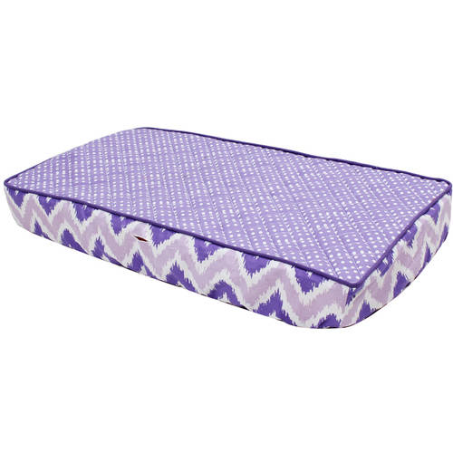 Bacati - MixNMatch Purple Pin Dots Quilted Top 100% Cotton Percale with Polyester Batting With Purple Zigzag Gussett Diaper Changing Pad Cover, Purple