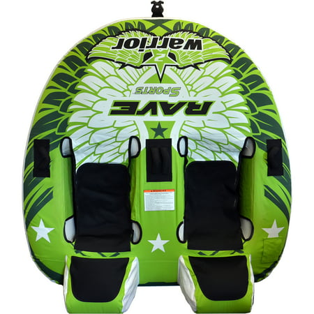 Rave Sports Warrior 2-Rider Sit-On-Top Design Towable Comfort Top Towable Tube