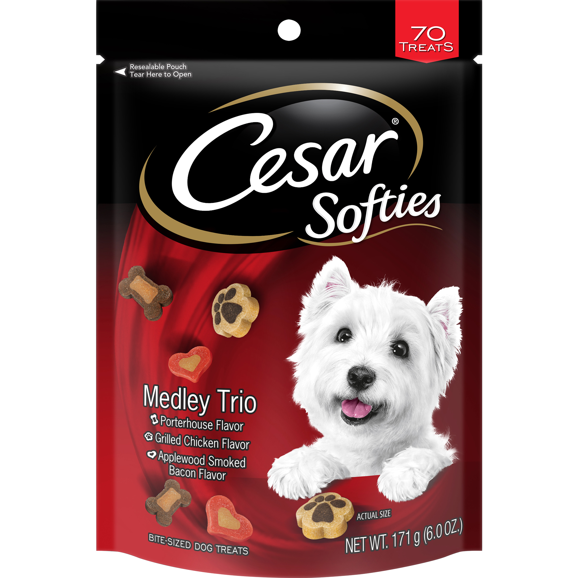CESAR SOFTIES Dog Treats Medley Trio, 6 oz. Pouch (70 Treats)