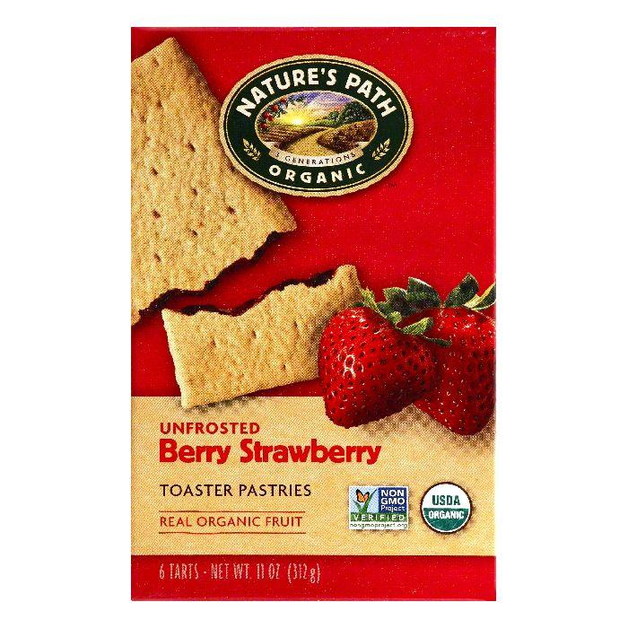 Natures Path Berry Strawberry Unfrosted Toaster Pastries, 6 ea (Pack of 12)