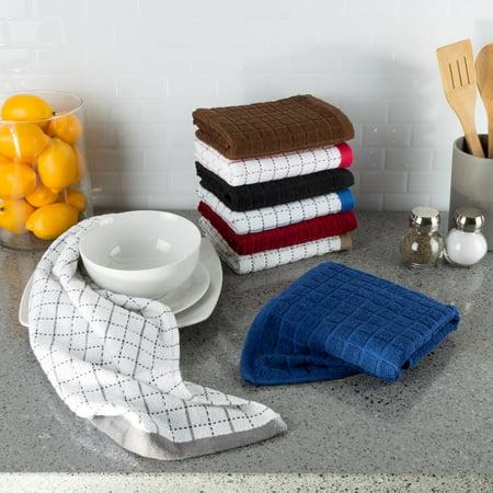 8 pc 100% Cotton XL Kitchen Towel/Dish Cloth, Windowpane Pattern by Somerset Home