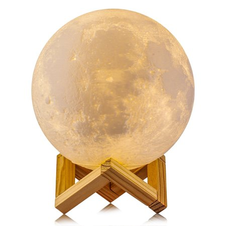 TSV Night Light 3D Printing Moon Lamp Rechargeable Lunar Night Light, Dimmable Touch Control Brightness Two Tone Home Decorative Lights Baby Night Light with Wooden - Flashing Yellow Light