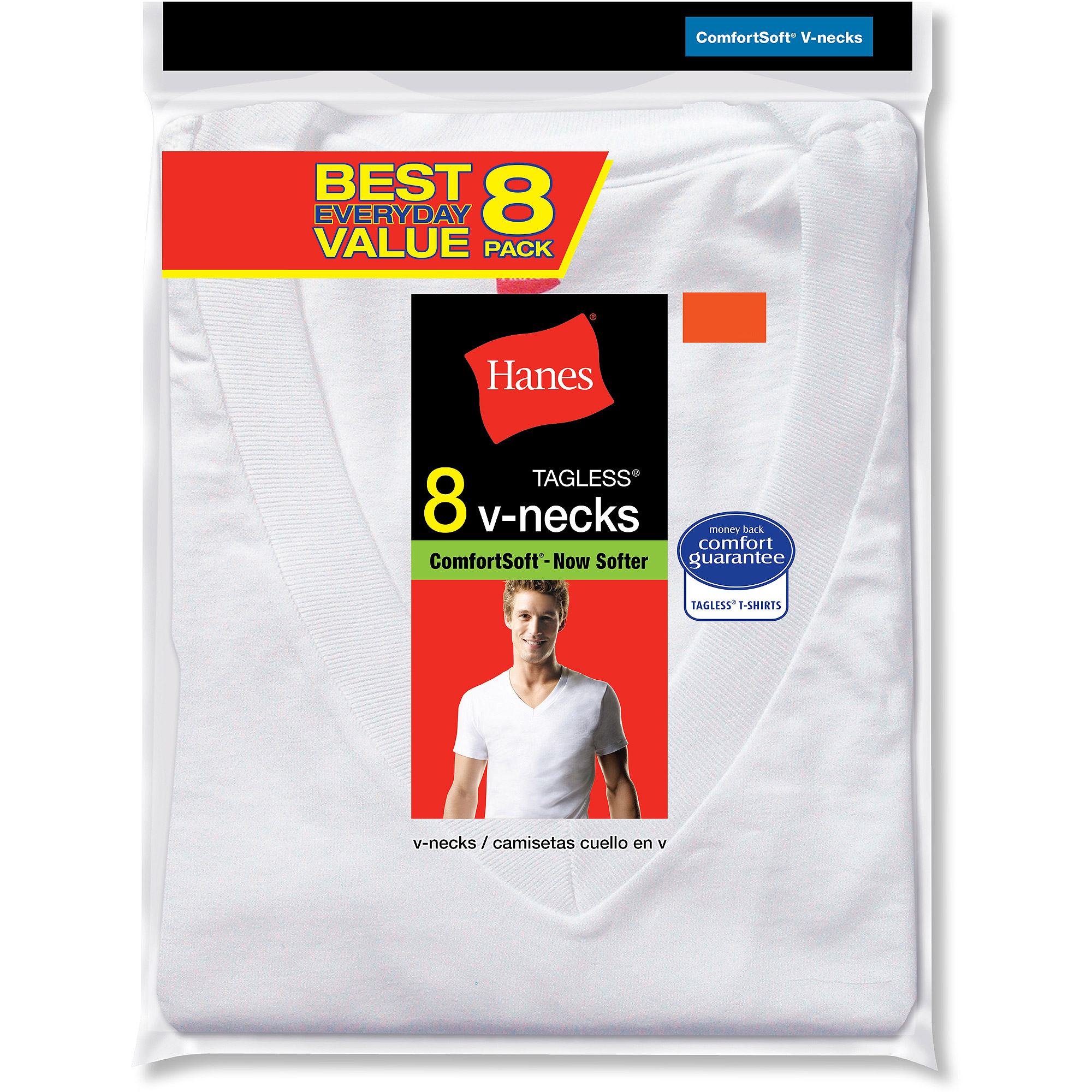 Hanes Big Men's Value 8 Pack V-Neck T-Shirts