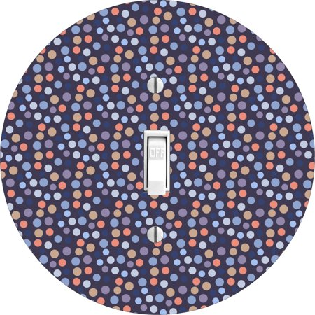 Baby Nursery Small Polka Dots Round Hardboard Light Switch Cover For