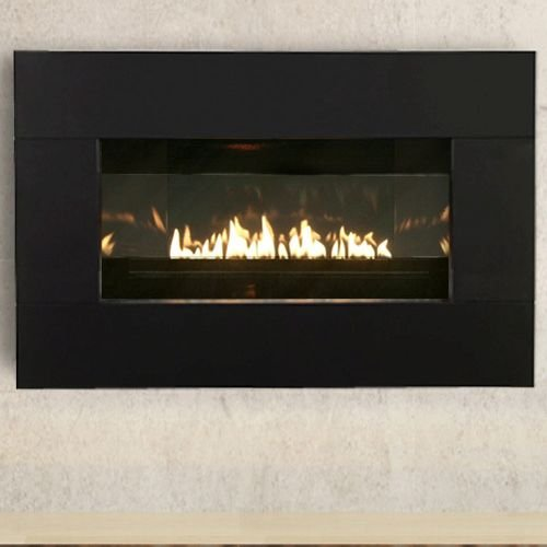 Loft Vent Free Propane Fireplace With Black Porcelain Liner And