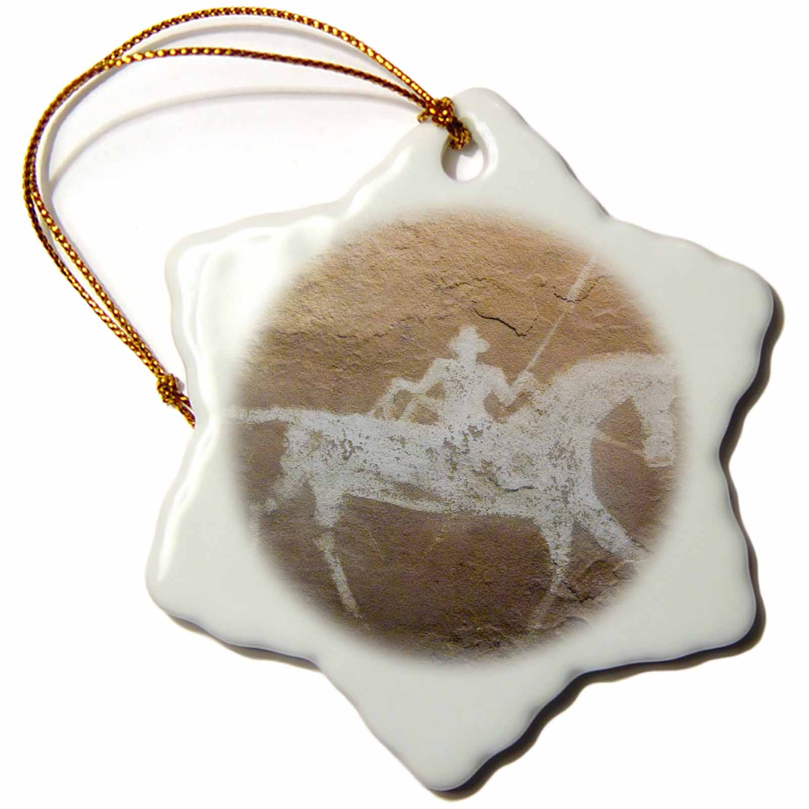 3dRose Pictograph, Canyon deChelly NP, Native American - US32 AWY0013 - Angel Wynn, Snowflake Ornament, Porcelain, 3-inch