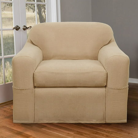 Astounding Maytex Stretch Reeves 2 Piece Arm Chair Furniture Cover Slipcover Natural Home Interior And Landscaping Eliaenasavecom