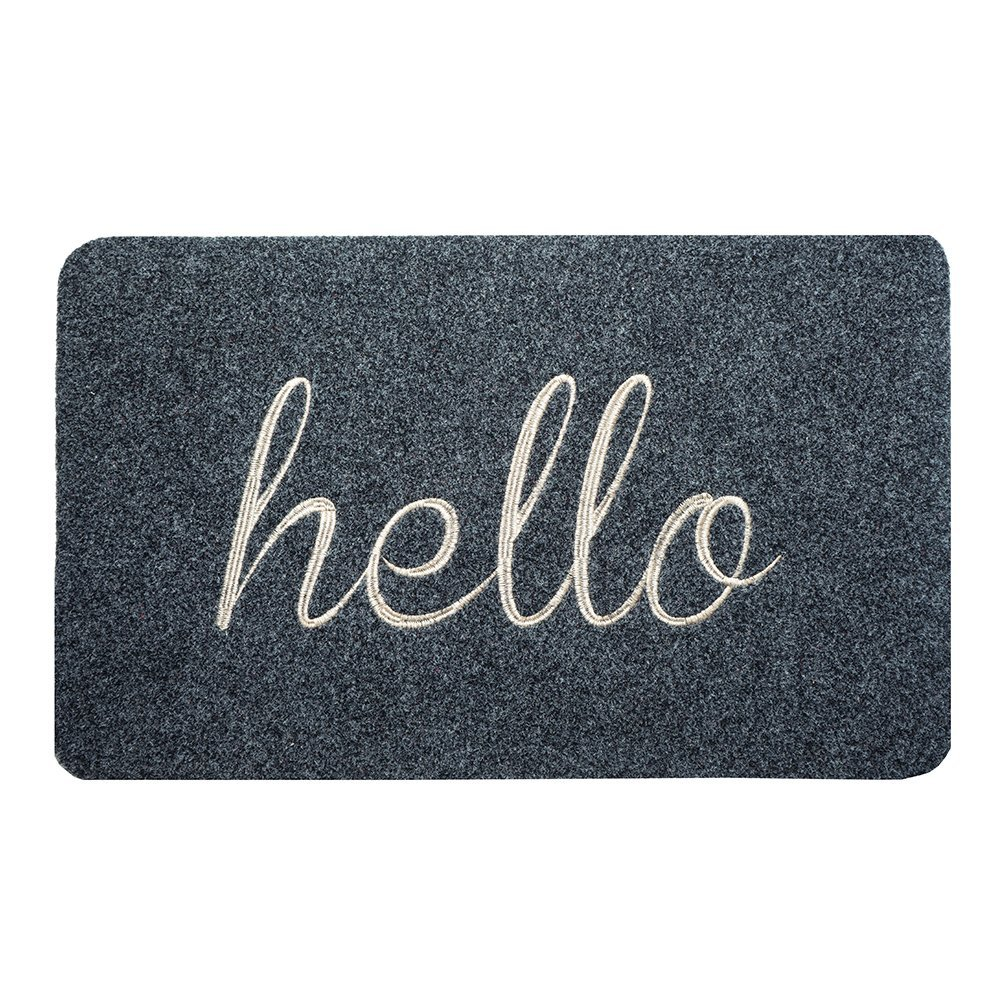 BIGA Front Welcome Door mat Embroidered Entry Way Indoor and Outdoor Mat Monogram Script Hello Doormat, 18X30 Inch, Gray
