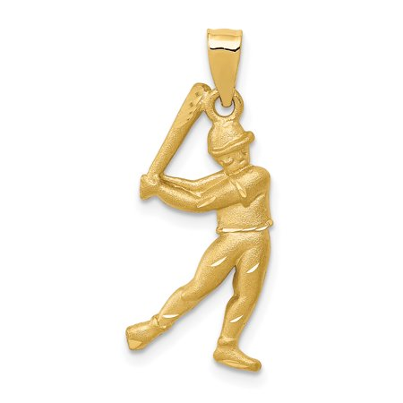 14k Diamond Cut Baseball - 14K Yellow Gold Satin & Diamond Cut Baseball Player Pendant