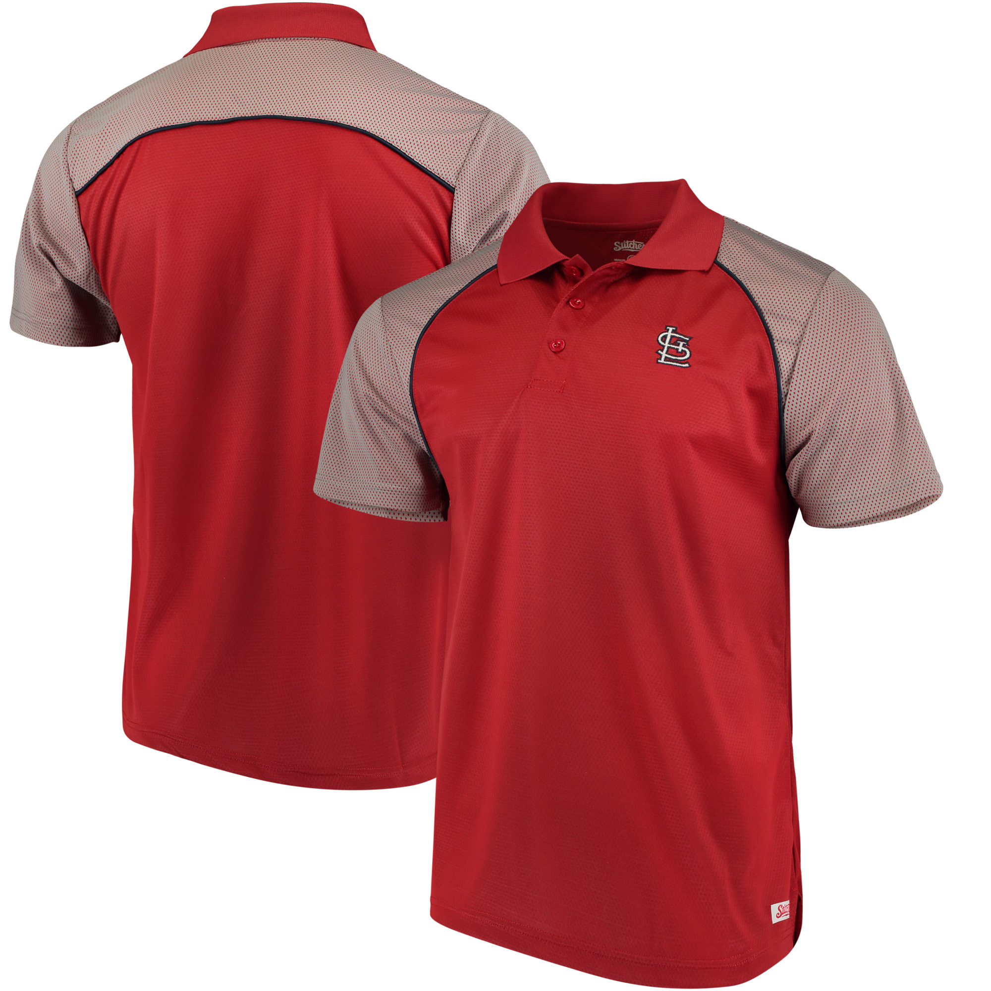 St. Louis Cardinals Stitches First Pitch Mesh Raglan Polo - Red