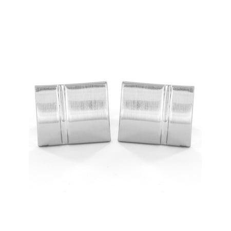 Brushed and Polished Finish Silver Tone Rectangle Cufflinks