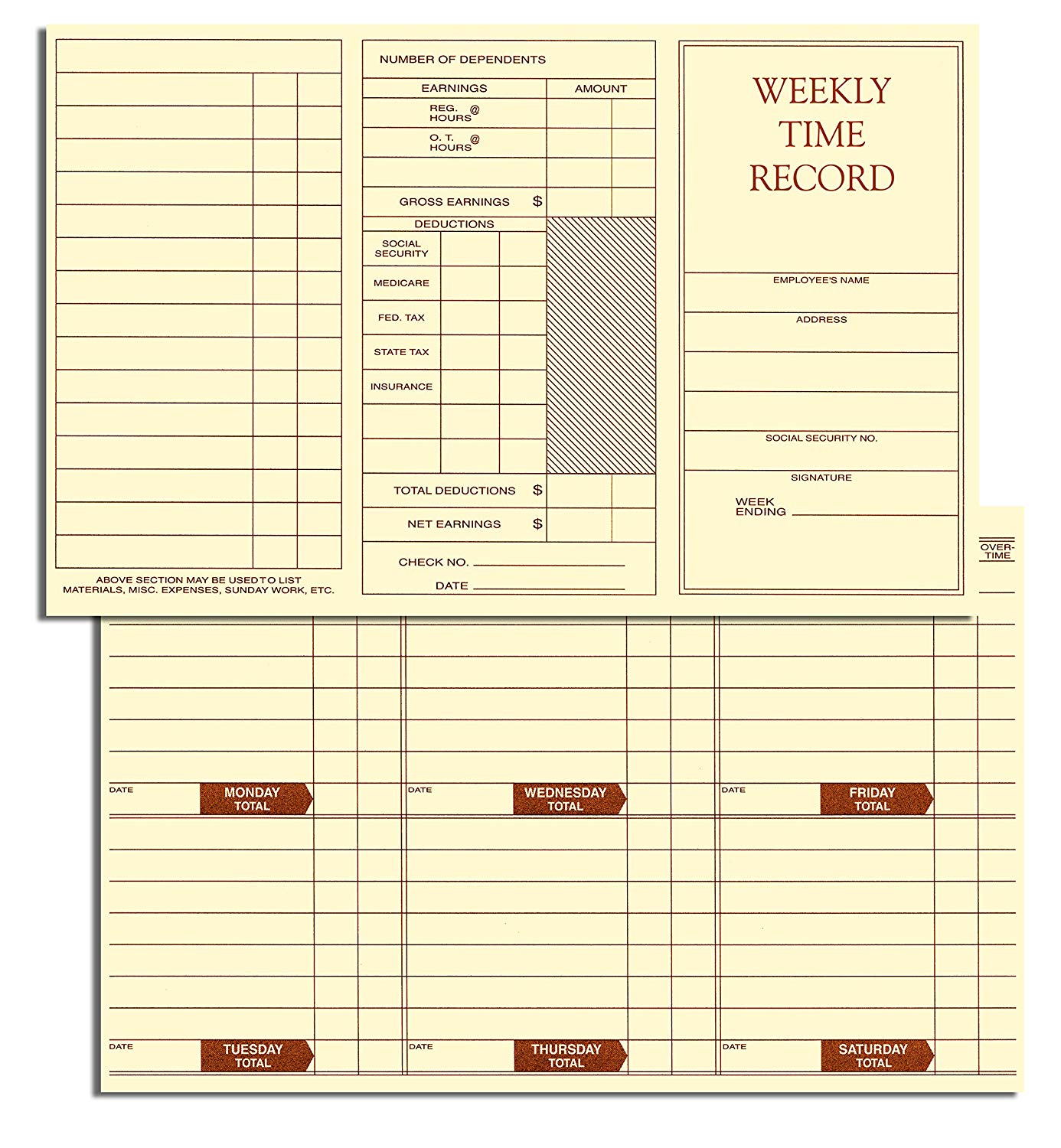 Weekly Employee Pocket Size Time Cards - 100 Cards
