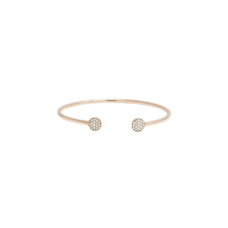 Ladies 10K Rose Gold Real Diamond Cuff Bangle Bracelet 0.50 CT