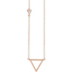 Diamond Triangle Necklace - 14K Rose .05 CTW Diamond Triangle 16-18