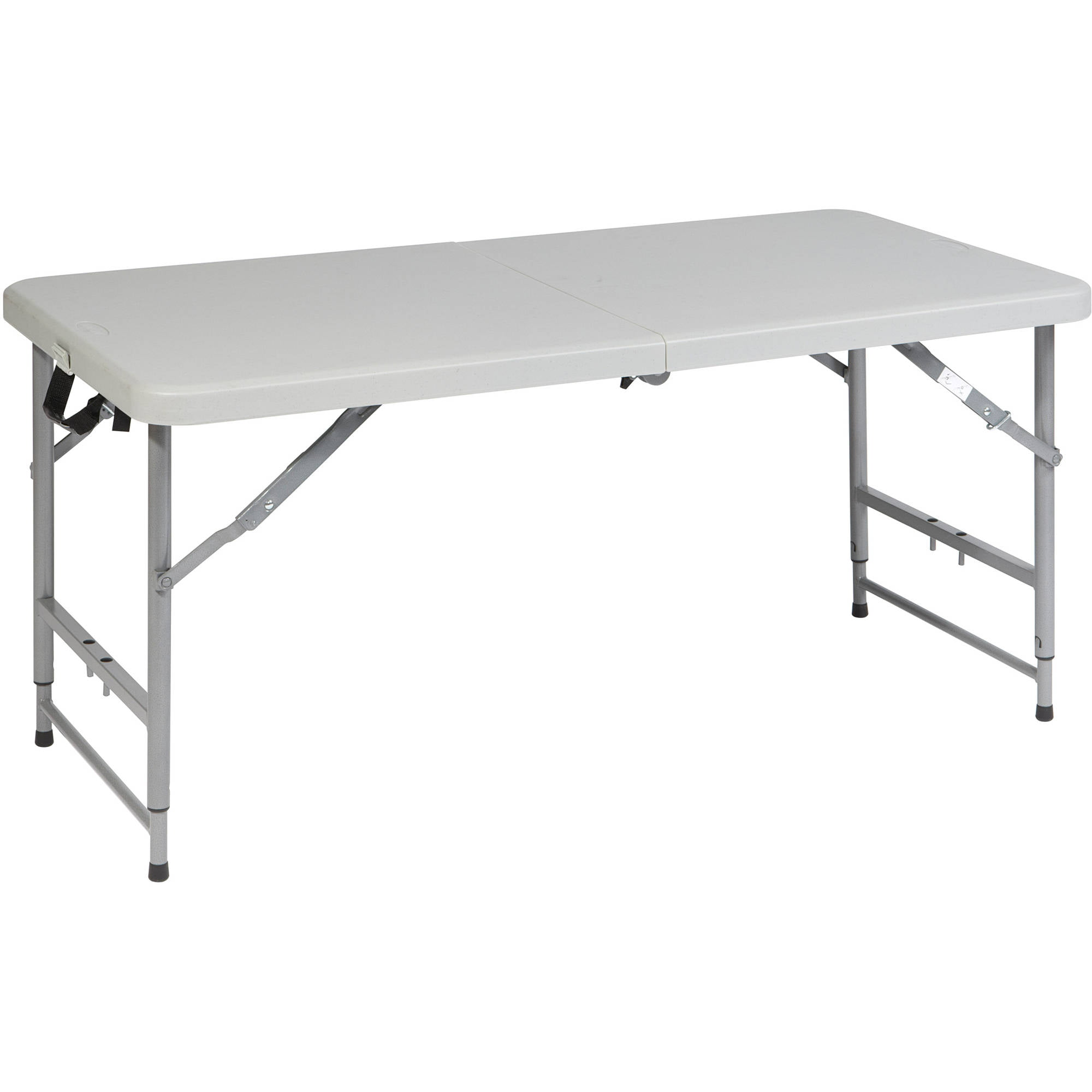 Perfect Work Smart 4u0027 Height Adjustable Fold In Half Resin Multi Purpose Table,  Light Grey   Walmart.com