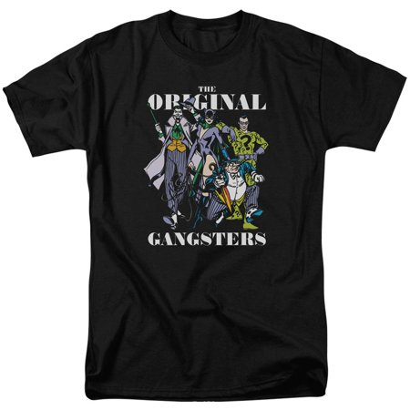 DC Comics Men's  Original Gangsters T-shirt Black (Black Ganster)