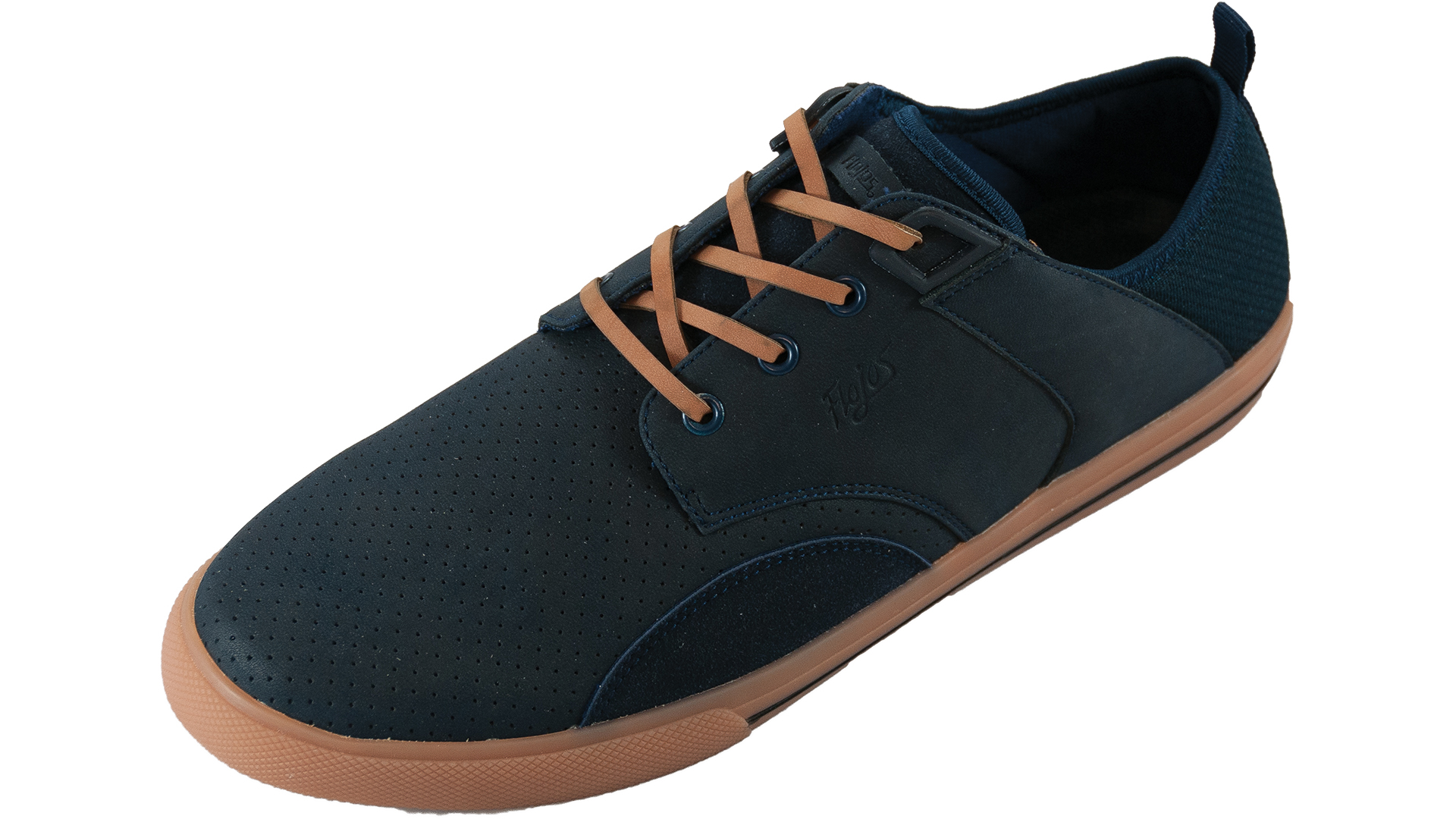 Flojos Mens Benito Lace Up Suede Closed Toe Sneaker (10, Navy Gum) by