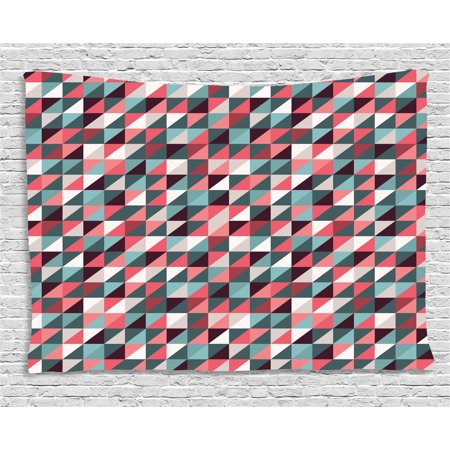 Retro Tapestry, Geometric Colorful Mosaic Pattern with Half Cut Squares Triangles Hipster Design Art, Wall Hanging for Bedroom Living Room Dorm Decor, 60W X 40L Inches, Multicolor, by Ambesonne