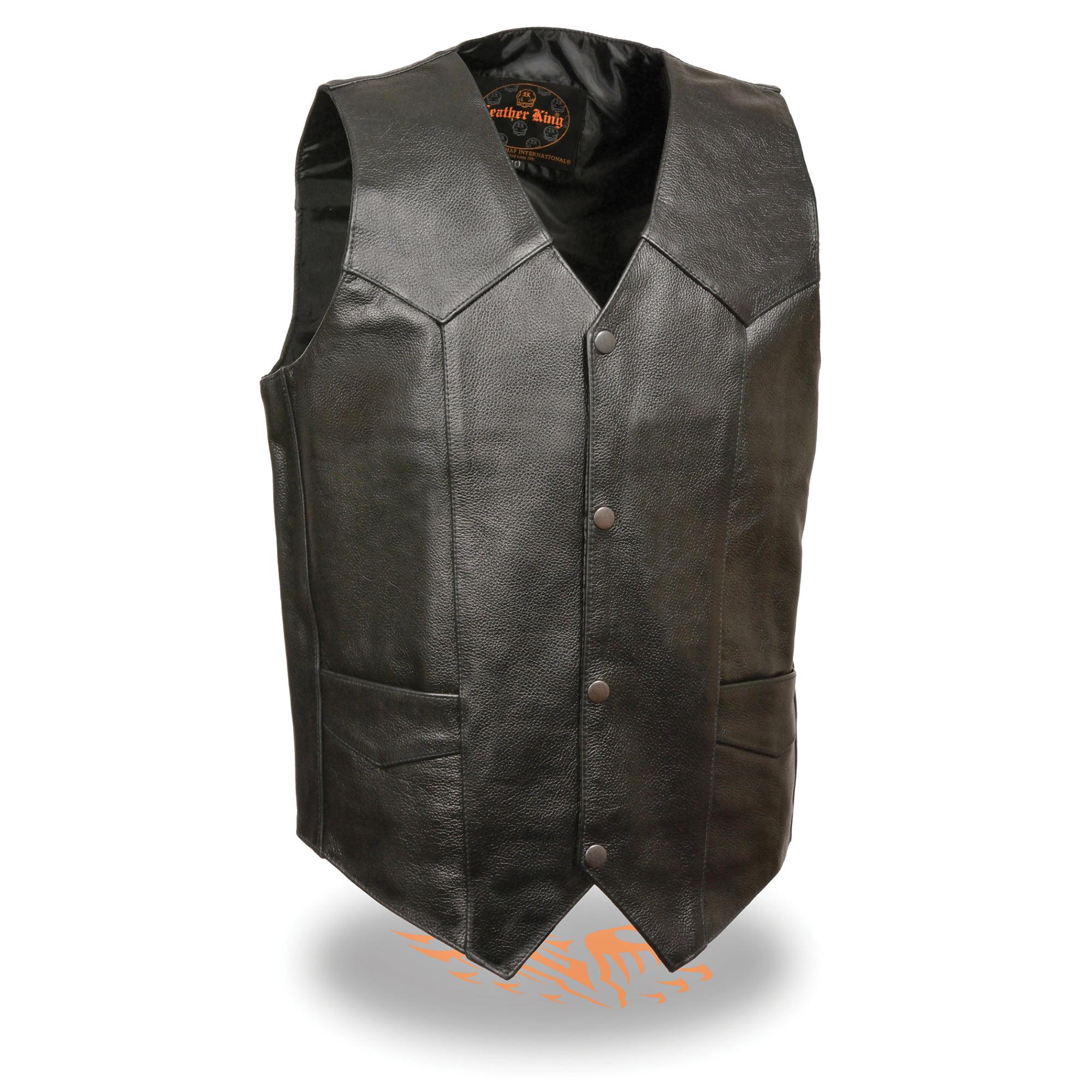 Mens Classic Snap Front Leather Biker Vest