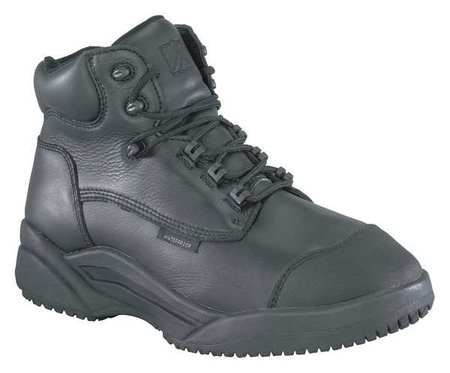 Warson Size 6-1/2 Plain Toe Work Boots, Men's, Black, M, R4239