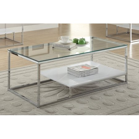 Glass Top Metal Finish - Ruben Collection 80430 48 Coffee Table with 8mm Clear Tempered Glass Top  White Lower Shelf and Square Metal Tube in Chrome Finish