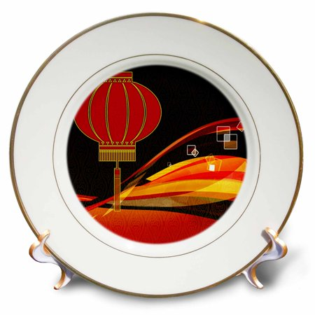 3dRose Chinese Lantern with Red, Gold and Black Swirls Chinese New Year, Porcelain Plate, 8-inch