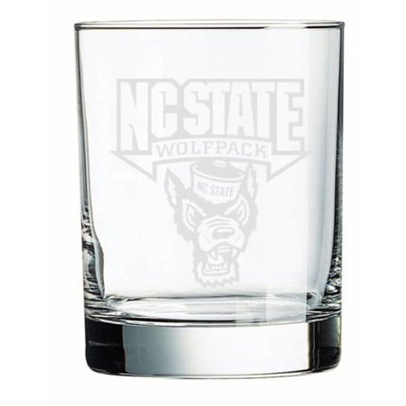 North Carolina State Wolfpack Deep Etched Double Old Fashion Glass