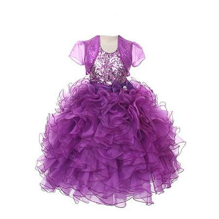 Rain Kids Girls 10 Purple Sequin Halter Pageant Dress Sheer Jacket