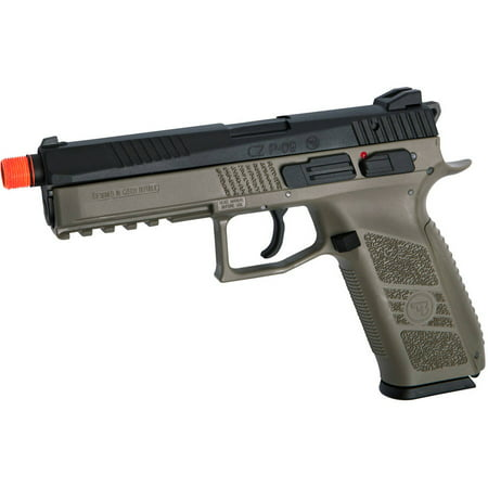 Extended Gas Pistol - ASG CZ P-09 Gas Powered Airsoft Pistol with Outer Barrel Threading, FDE