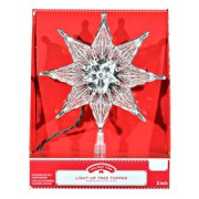 """Holiday Time Light-up Clear Star Tree Topper, 8"""""""