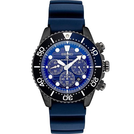 Seiko Prospex SSC701 Special Edition Blue Silicone Solar Powered Diver's Chronograph Watch (Chronograph Solar Watch Blue Dial)
