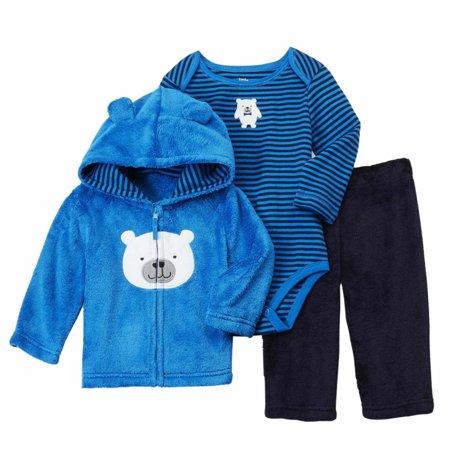 Infant Boys Blue Fleece Polar Bear Hoodie Pants & Bodysuit Set Newborn