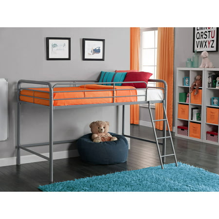 Junior Metal Loft Bed With Bonus Twin Mattress Bundle
