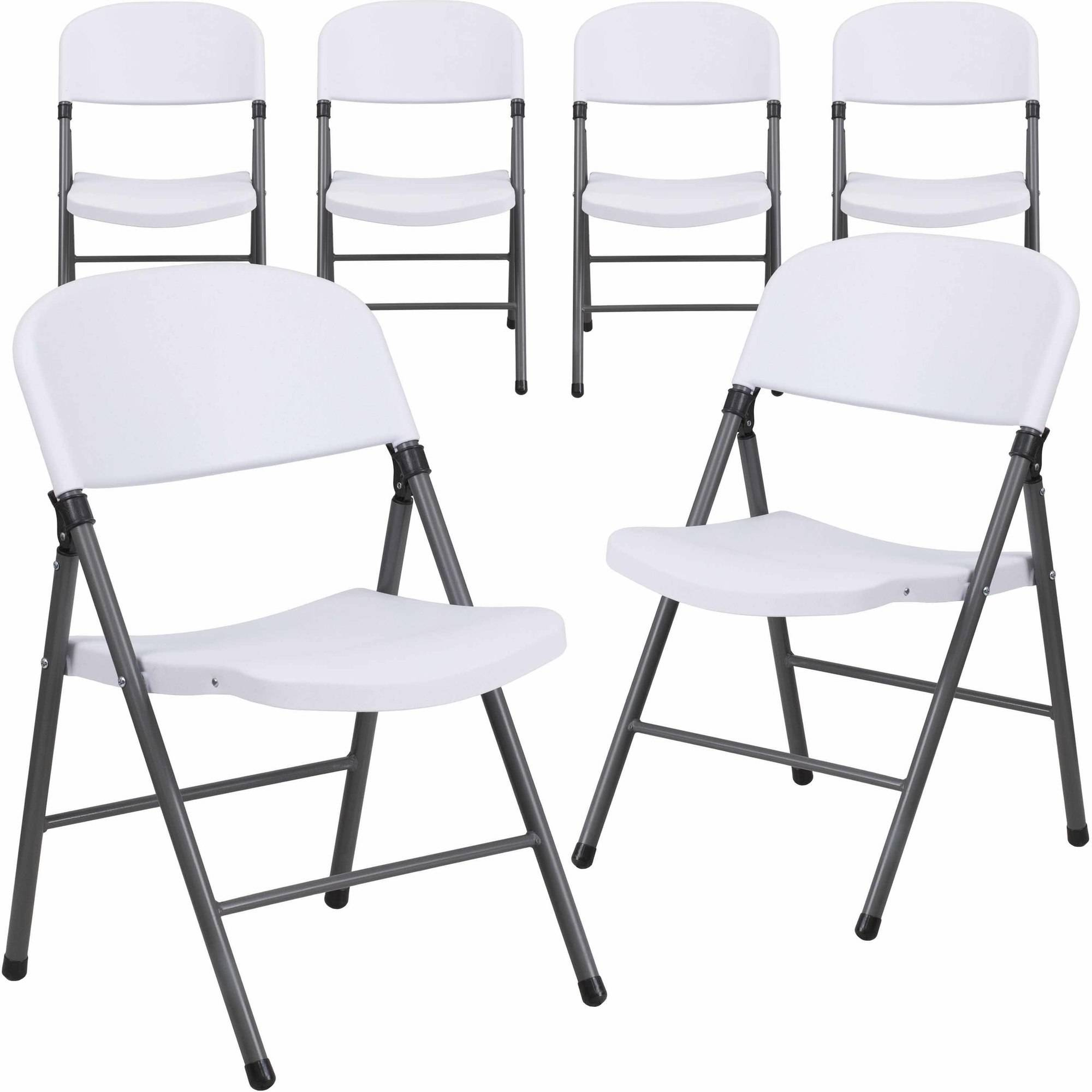 Flash Furniture 6 Pack HERCULES Series 330 Lb Capacity White Plastic  Folding Chair With Charcoal