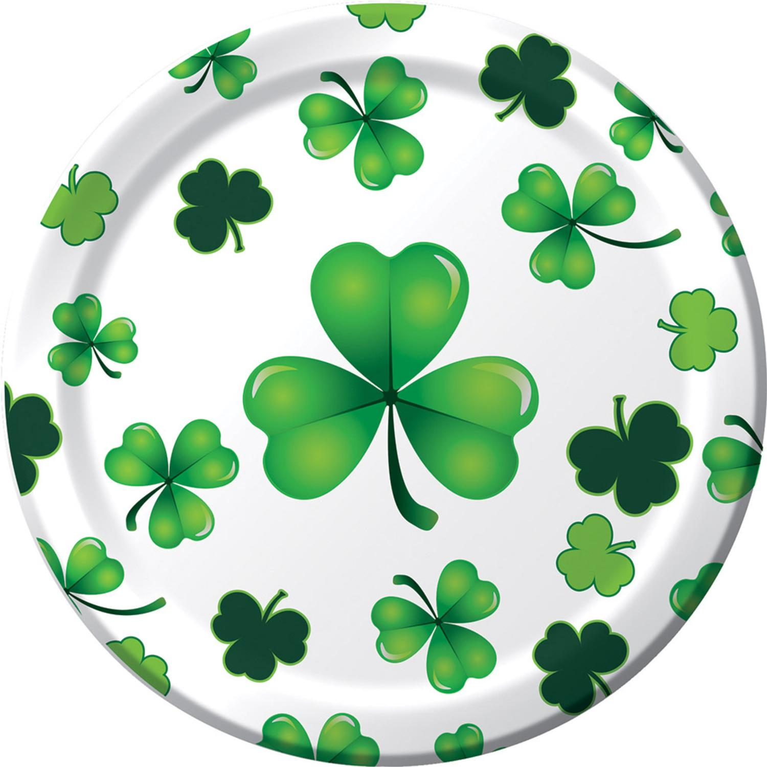 """Club Pack of 96 St. Patrick's Day Green Clover Disposable Luncheon Plates 6.75"""""""