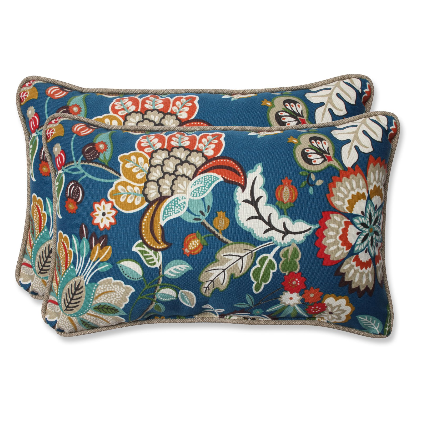 Pillow Perfect Outdoor  Indoor Telfair Peacock Rectangular Throw Pillow (Set of 2) by Overstock