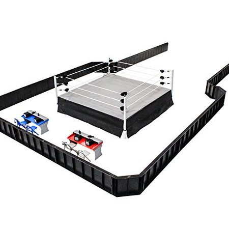 Ultimate Wrestling Ring Deluxe Playset With Barricade, Ring & Commentators Tables For WWE Figures (Wwe Raw Game)