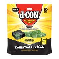 D-con Refillable Corner Fit Mouse Bait Station, 1 Trap + 10 Baits