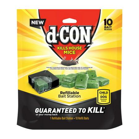 d-CON Refillable Corner Fit Mouse Poison Bait Station, 1 Trap + 10 Bait